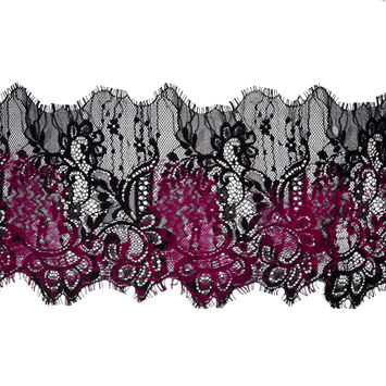 "Italian Black and Magenta Flocked Lace Trim 8""-120424-10"