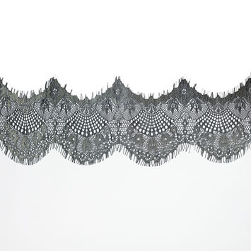 "Italian Metallic Black and Gold Scalloped Lace Trim 4""-120454-10"