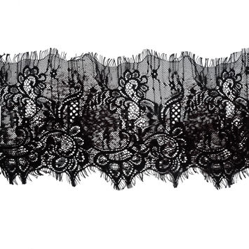 """Italian Black and Brown Flocked Lace Trim 8""""-120472-10"""