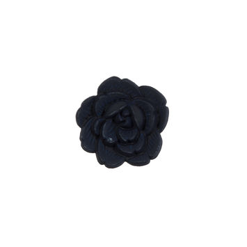 Italian Navy Flower Shank Back Button 24L/15mm-121631-10