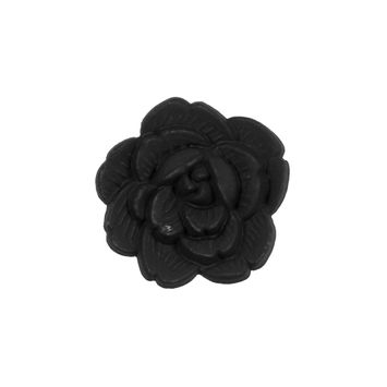 Italian Black Flower Shank Back Button 36L/23mm-121635-10