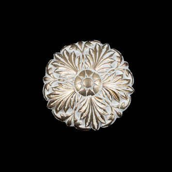 Italian White and Gold Floral Metal Shank Back Button 36L/23mm-121641-10