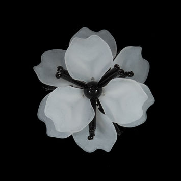 "Italian Frosted White 3D Flower Applique with Black Beads 2.5""-121731-10"