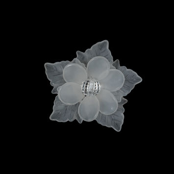 "Italian Frosted White 3D Flower Applique with Clear Center Bead 2""-121733-10"