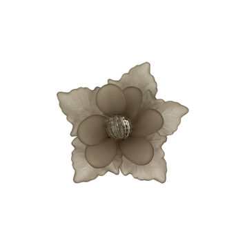"Italian Frosted Antracite 3D Flower Applique with Gray Center Bead 2""-121734-10"