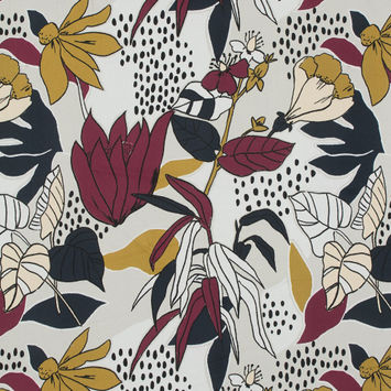 Mood Exclusive Pushing Up Daisies Red Plum Stretch Cotton Sateen
