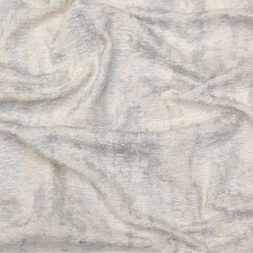 Cream Polyester Chenille with Metallic Silver Foil-122556-10