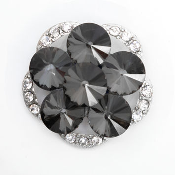 Italian Silver, Gunmetal and Crystal Rhinestone Button 48L/30.5mm-123252-10
