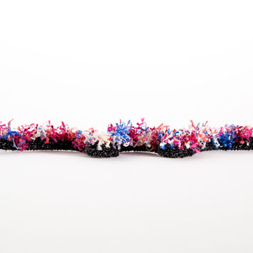 "Italian Magenta, Royal Blue and Ivory Multi-Tassel Braided Fringe 1.25""-123294-10"