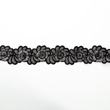 "Italian Metallic Silver and Black 3D Embroidered Flower Trim 3""-123305-10"