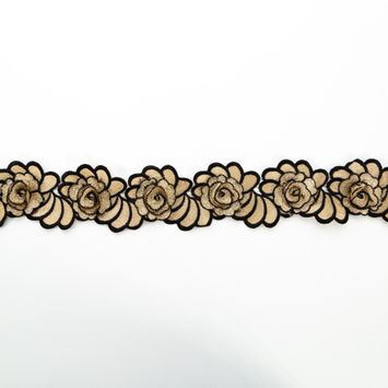 "Italian Metallic Gold and Black 3D Embroidered Flower Trim 3""-123306-10"