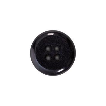 Italian Black 4-Hole Velvet-Faced Plastic Button 28L/18mm-123318-10
