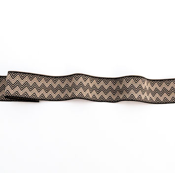"Italian Beige and Black Zig Zag Jacquard Ribbon 1.5""-123334-10"