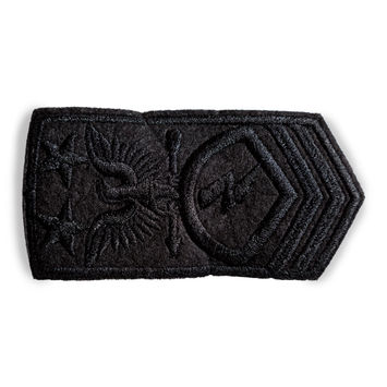 "Italian Carbon Black Military Embroidered Applique 4"" x 2""-123360-10"