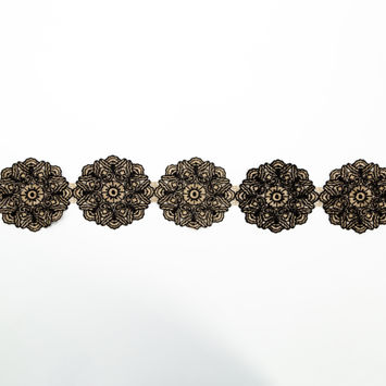 "Italian Metallic Gold and Black Embroidered Medallion Lace Trimming 4""-123365-10"