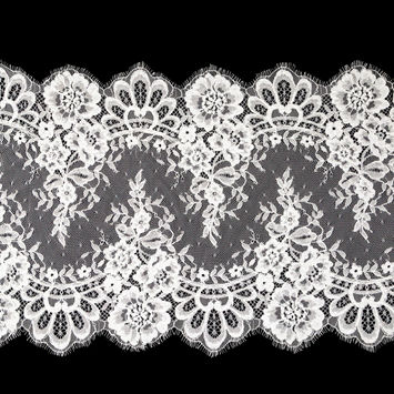 """White Floral Corded Lace with Scalloped Eyelash Edges 14.75""""-123471-10"""
