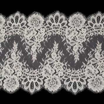 """Ivory Floral Corded Lace with Scalloped Eyelash Edges 14.75""""-123472-10"""