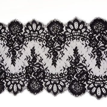 """Black Floral Corded Lace with Scalloped Eyelash Edges 14.75""""-123473-10"""