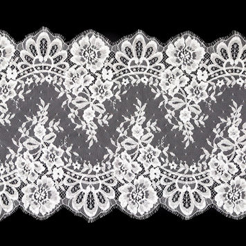 """White Fine Floral Lace with Scalloped Eyelash Edges 14.5""""-123474-10"""
