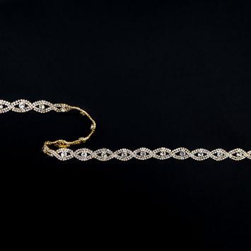 """Gold and Crystal 2-Row Wavy Rhinestone Trim 0.5""""-123515-10"""