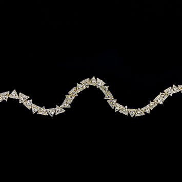 """Gold and Crystal Triangular Rhinestone Trim 0.625""""-123517-10"""