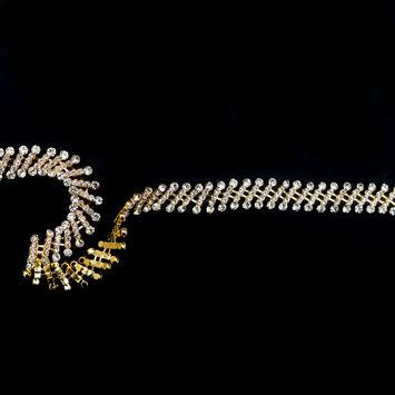 """Gold and Crystal Rhinestone Trim 0.75""""-123522-10"""