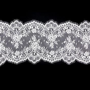 "Ivory Fine Floral Lace with Scalloped Eyelash Edges 9.5""-123527-10"