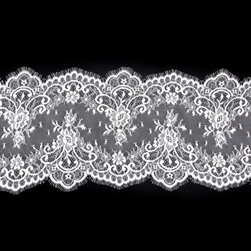 """White Fine Floral Lace with Scalloped Eyelash Edges 9.5""""-123531-10"""