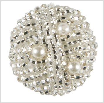 Silver Beaded Button - 44L/28mm