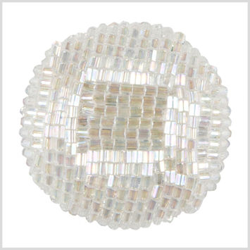 White Iridescent Beaded Button - 54L/34mm