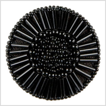 Black Beaded Button - 64L/42mm