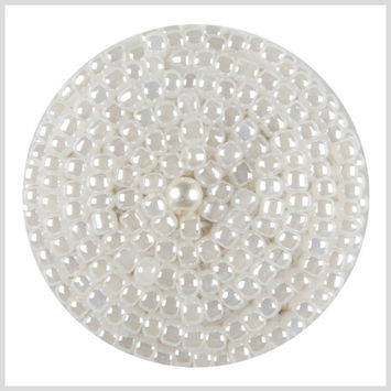 White Beaded Button - 44L/28mm