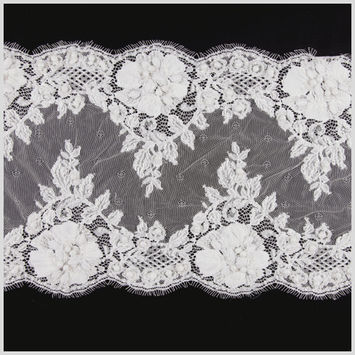 10 White Beaded Lace Trim w/ Scalloped Eyelash Edges