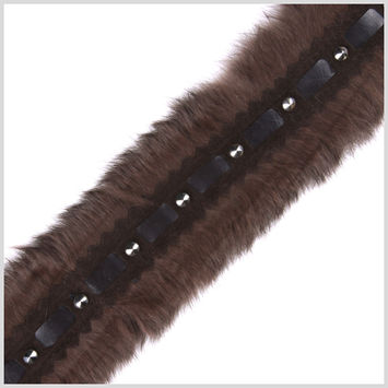 3 Brown Rabbit Fur Trim