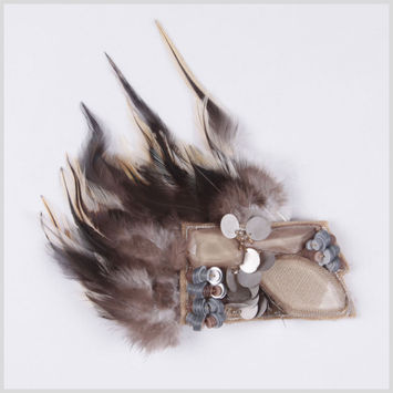 Beige Brooches Feathers