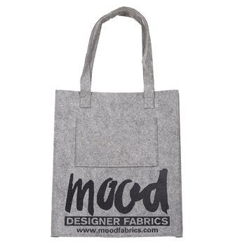 Light Gray Felt Mood Bag with Black Logo