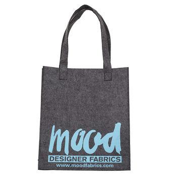 Charcoal Felt Mood Bag with Blue Logo