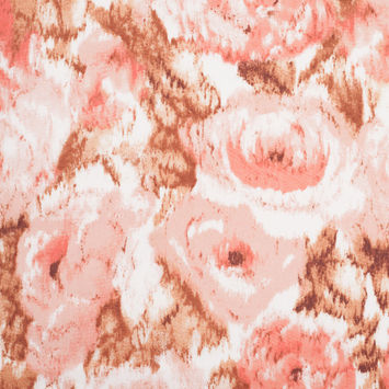 Italian Pink Rose Printed Cotton Woven