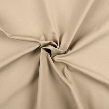 Beige Satin-Faced Stretch Cotton Twill Suiting