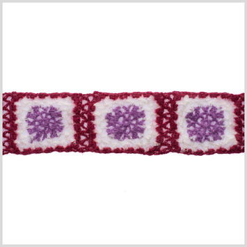 Red/White/Orchid Squares Crochet Lace Trim