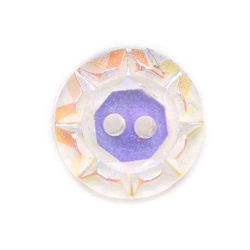 Iridescent/Crystal Glass Button - 22L/14mm