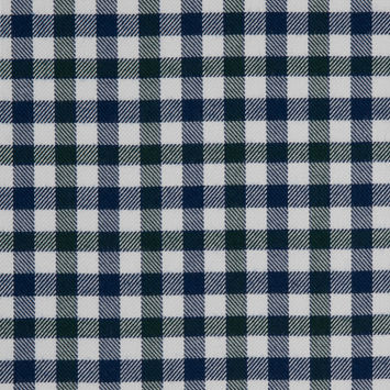 Greener Pastures/White/Twighlight Blue Gingham Plaid Cotton-Tencel Double Sided Brushed Flannel