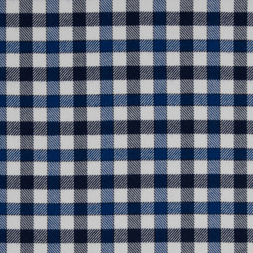 Dazzling Blue/Eclipse/White Gingham Plaid Cotton-Tencel Double Sided Brushed Flannel