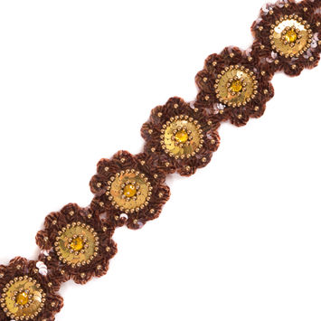 Brown and Gold Sequin Floral Trim - 2.5