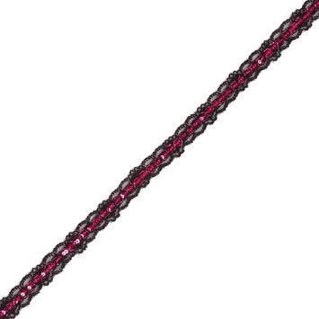 0.625 Magenta Sequin on Black Lace Trim