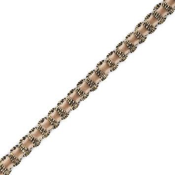Gold Braid Around Beige Velvet Trimming - 0.25