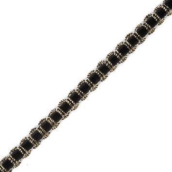 Gold Braid Around Black Velvet Trimming - 0.25