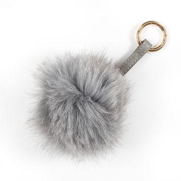 Gray Real Fox Fur Ball Key Chains - 6.5