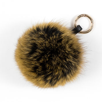 Yellow and Black Ombre Real Fox Fur Ball Key Chains - 6.5
