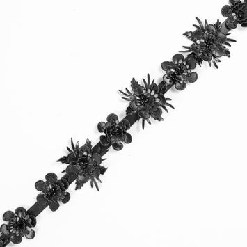 Black Faux Leather Flower Trim - 1.5